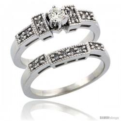 10k White Gold 2-Piece Diamond Engagement Ring Band Set w/ 0.37 Carat Brilliant Cut Diamonds, 1/8 in. (3mm) wide