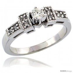 10k White Gold Diamond Engagement Ring w/ 0.27 Carat Brilliant Cut Diamonds, 1/8 in. (3mm) wide