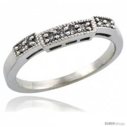 10k White Gold Ladies' Diamond Ring Band w/ 0.10 Carat Brilliant Cut Diamonds, 1/8 in. (3mm) wide