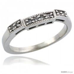 10k White Gold Ladies' Diamond Ring Band w/ 0.10 Carat Brilliant Cut Diamonds, 1/8 in. (3mm) wide