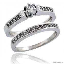 10k White Gold 2-Piece Diamond Engagement Ring Band Set w/ 0.41 Carat Brilliant Cut Diamonds, 1/8 in. (3mm) wide
