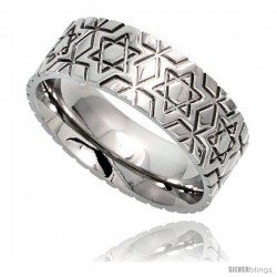 Surgical Steel 8mm Wedding Band Ring Star Of David Pattern Comfort-Fit