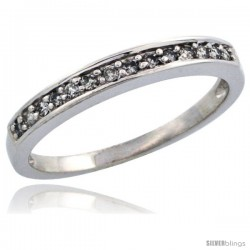 10k White Gold Ladies' Diamond Ring Band w/ 0.14 Carat Brilliant Cut Diamonds, 1/8 in. (3mm) wide