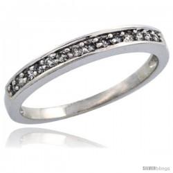 10k White Gold Ladies' Diamond Ring Band w/ 0.14 Carat Brilliant Cut Diamonds, 1/8 in. (3mm) wide