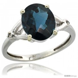 Sterling Silver Diamond Natural London Blue Topaz Ring 2.4 ct Oval Stone 10x8 mm, 3/8 in wide