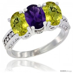 10K White Gold Natural Amethyst & Lemon Quartz Sides Ring 3-Stone Oval 7x5 mm Diamond Accent