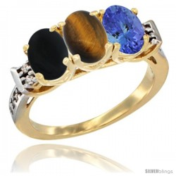 10K Yellow Gold Natural Black Onyx, Tiger Eye & Tanzanite Ring 3-Stone Oval 7x5 mm Diamond Accent