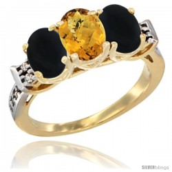 10K Yellow Gold Natural Whisky Quartz & Black Onyx Sides Ring 3-Stone Oval 7x5 mm Diamond Accent