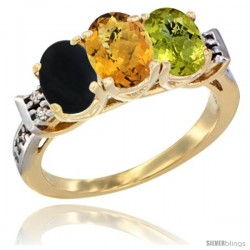 10K Yellow Gold Natural Black Onyx, Whisky Quartz & Lemon Quartz Ring 3-Stone Oval 7x5 mm Diamond Accent