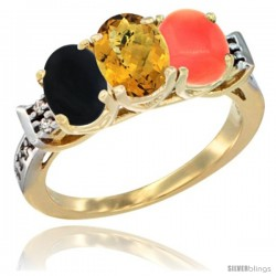 10K Yellow Gold Natural Black Onyx, Whisky Quartz & Coral Ring 3-Stone Oval 7x5 mm Diamond Accent
