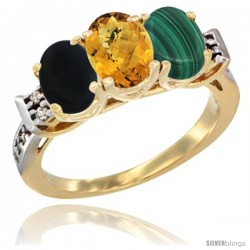 10K Yellow Gold Natural Black Onyx, Whisky Quartz & Malachite Ring 3-Stone Oval 7x5 mm Diamond Accent