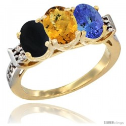 10K Yellow Gold Natural Black Onyx, Whisky Quartz & Tanzanite Ring 3-Stone Oval 7x5 mm Diamond Accent
