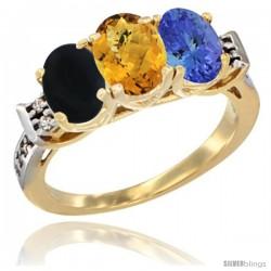 10K Yellow Gold Natural Black Onyx, Whisky Quartz & Tanzanite Ring 3-Stone Oval 7x5 mm Diamond Accent
