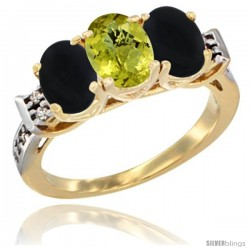 10K Yellow Gold Natural Lemon Quartz & Black Onyx Sides Ring 3-Stone Oval 7x5 mm Diamond Accent