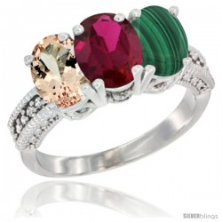 14K White Gold Natural Morganite, Ruby & Malachite Ring 3-Stone Oval 7x5 mm Diamond Accent