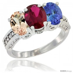 14K White Gold Natural Morganite, Ruby & Tanzanite Ring 3-Stone Oval 7x5 mm Diamond Accent
