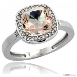 14k White Gold Diamond Morganite Ring 2.08 ct Checkerboard Cushion 8mm Stone 1/2.08 in wide
