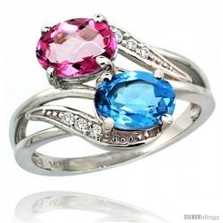 14k White Gold ( 8x6 mm ) Double Stone Engagement Swiss Blue & Pink Topaz Ring w/ 0.07 Carat Brilliant Cut Diamonds & 2.34