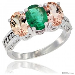 14K White Gold Natural Emerald & Morganite Sides Ring 3-Stone Oval 7x5 mm Diamond Accent