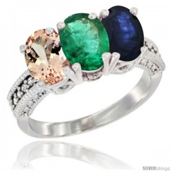 14K White Gold Natural Morganite, Emerald & Blue Sapphire Ring 3-Stone Oval 7x5 mm Diamond Accent