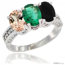 14K White Gold Natural Morganite, Emerald & Black Onyx Ring 3-Stone Oval 7x5 mm Diamond Accent