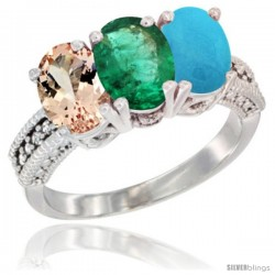 14K White Gold Natural Morganite, Emerald & Turquoise Ring 3-Stone Oval 7x5 mm Diamond Accent