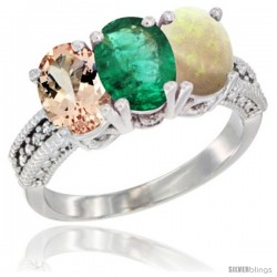14K White Gold Natural Morganite, Emerald & Opal Ring 3-Stone Oval 7x5 mm Diamond Accent