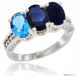 14K White Gold Natural Swiss Blue Topaz, Blue Sapphire & Lapis Ring 3-Stone 7x5 mm Oval Diamond Accent