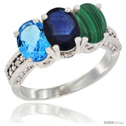14K White Gold Natural Swiss Blue Topaz, Blue Sapphire & Malachite Ring 3-Stone 7x5 mm Oval Diamond Accent