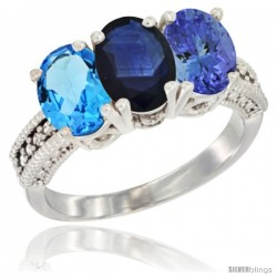 14K White Gold Natural Swiss Blue Topaz, Blue Sapphire & Tanzanite Ring 3-Stone 7x5 mm Oval Diamond Accent