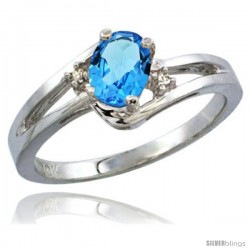 14k White Gold Ladies Natural Swiss Blue Topaz Ring oval 6x4 Stone Diamond Accent -Style Cw404165