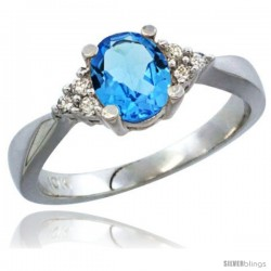 14k White Gold Ladies Natural Swiss Blue Topaz Ring oval 7x5 Stone Diamond Accent -Style Cw404168