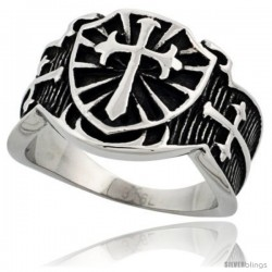 Surgical Steel Biker Ring St. James Cross 5/8 in long