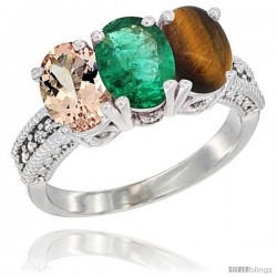 14K White Gold Natural Morganite, Emerald & Tiger Eye Ring 3-Stone Oval 7x5 mm Diamond Accent
