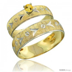 10k Gold 2-Piece 0.25 Carat Yellow Sapphire Ring Set (Engagement Ring & Man's Wedding Band) Diamond-cut Pattern -Style 10y507em