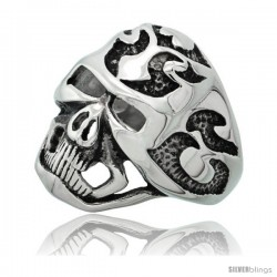 Surgical Steel Biker Skull Ring with Heart and Tribal Tattoos 1 in long
