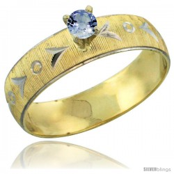 10k Gold Ladies' Solitaire 0.25 Carat Light Blue Sapphire Engagement Ring Diamond-cut Pattern Rhodium Accent, -Style 10y507er