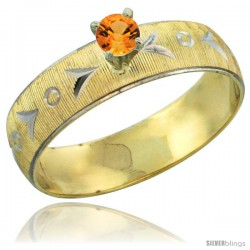 10k Gold Ladies' Solitaire 0.25 Carat Orange Sapphire Engagement Ring Diamond-cut Pattern Rhodium Accent, 3/16 -Style 10y507er