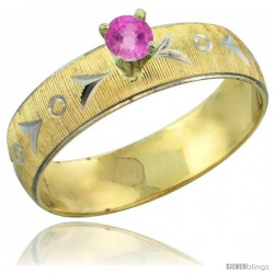10k Gold Ladies' Solitaire 0.25 Carat Pink Sapphire Engagement Ring Diamond-cut Pattern Rhodium Accent, 3/16 -Style 10y507er