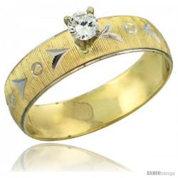 10k Gold Ladies' Solitaire 0.25 Carat White Sapphire Engagement Ring Diamond-cut Pattern Rhodium Accent, 3/16 -Style 10y507er