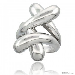 Sterling Silver Overlapping X Pattern Ring Flawless finish, 1 1/8 in wide