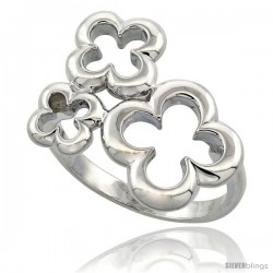 Sterling Silver Three Flower Ring Flawless finish, 3/4 in wide