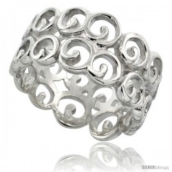 Sterling Silver Ring Flawless finish w/ Small Circles, 7/16 in wide