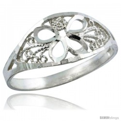 Sterling Silver Flower Filigree Ring, 5/16 in