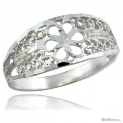 Sterling Silver Flower Filigree Ring, 5/16 in -Style Fr507