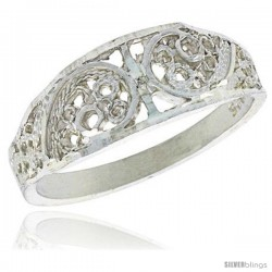 Sterling Silver Freeform Filigree Ring, 1/4 in