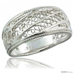 Sterling Silver Filigree Dome Ring, 3/8 in