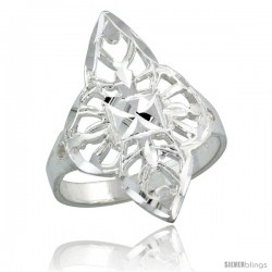 Sterling Silver Filigree Diamond-shaped Floral Ring, 1 in