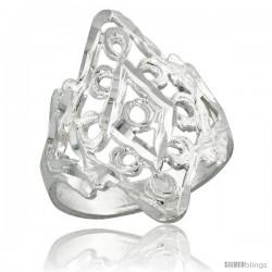 Sterling Silver Filigree Diamond-shaped Loop Ring, 7/8 in