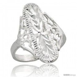 Sterling Silver Filigree Diamond-shaped Ring, 7/8 in